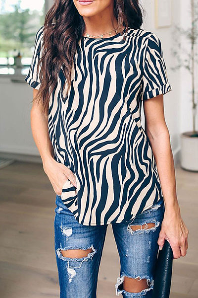Commuting Printed Colour Short Sleeve Round Neck T-Shirt
