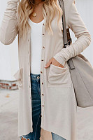 Curved Hem Plain Casual Cardigan