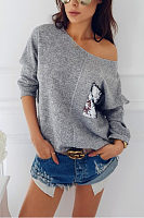 One Shoulder  Glitter  Patchwork  Batwing Sleeve T-Shirts