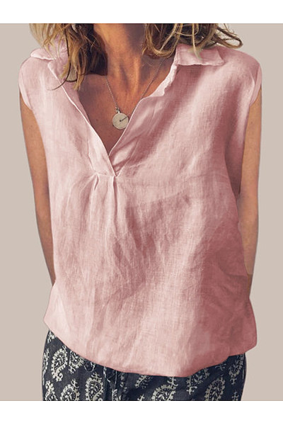 Turn Down Collar  Loose Fitting  Plain Linen Blouses