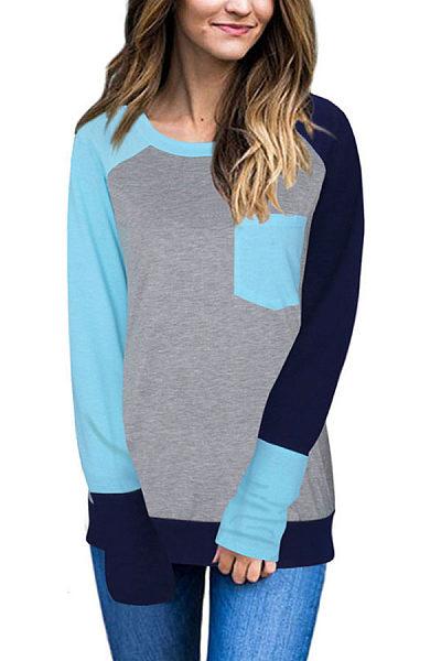 Round Neck  Patch Pocket  Color Block T-Shirts