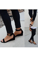 Plain  Mid Heeled  Velvet  Ankle Strap  Peep Toe  Casual Wedge Sandals