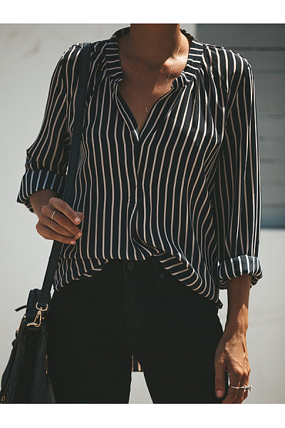 Fashion Stripe Printed V-Neck Long Sleeve Blouses