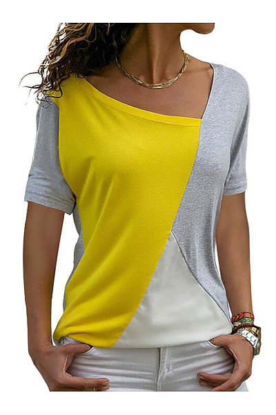 Asymmetric Neck  Patchwork  Color Block Short Sleeve T-Shirts