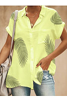 Turn Down Collar  Patch Pocket  Printed Blouses