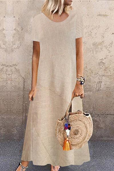Casual Fashion Round Neck Striped Stitching Short Sleeve Dresses