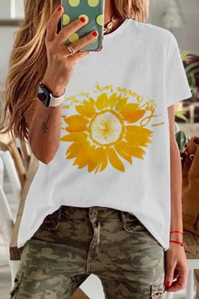 Round Neck Short Sleeve Sunflower T-shirt