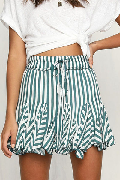 Bow  Cascading Ruffles  Striped Skirts