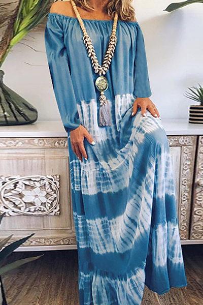Word Collar Long Sleeve Printed Casual Dress