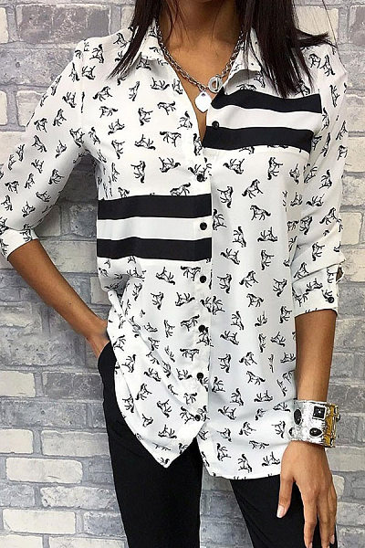 Ladies Fashion Printed Women's Blouse