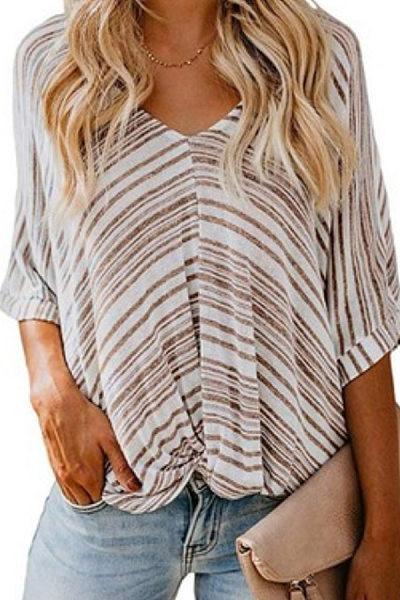 Deep V Neck  Stripes  Cuffed Sleeve T-Shirts