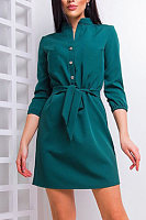 Band Collar  Belt  Plain  Three Quarter Sleeve Bodycon Dresses