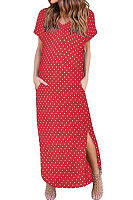 V Neck  Dot  Short Sleeve Maxi Dresses