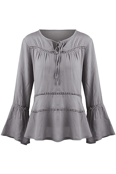 Tie Collar Bell Sleeve Patchwork Hollow Out Plain Long Sleeve Shirts