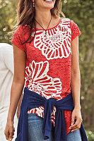 Round Neck Short Sleeve Floral T-shirt