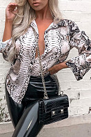 Turn Down Collar  Single Breasted  Animal Printed  Blouses