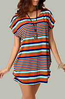 Round Neck  Asymmetric Hem  Striped T-Shirts