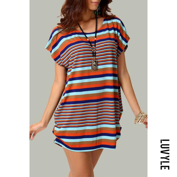 Stripe Round Neck Asymmetric Hem Striped T-Shirts Stripe Round Neck Asymmetric Hem Striped T-Shirts