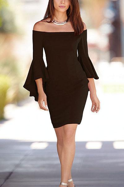Off Shoulder Flounce Plain Bodycon Dresses
