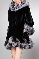 Hooded Imitation Fox Fur Coat
