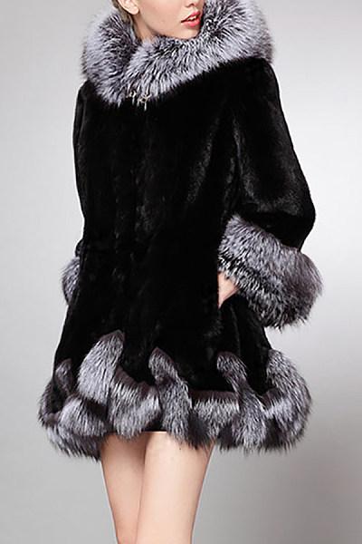 Hooded Imitation Fox Fur Coat