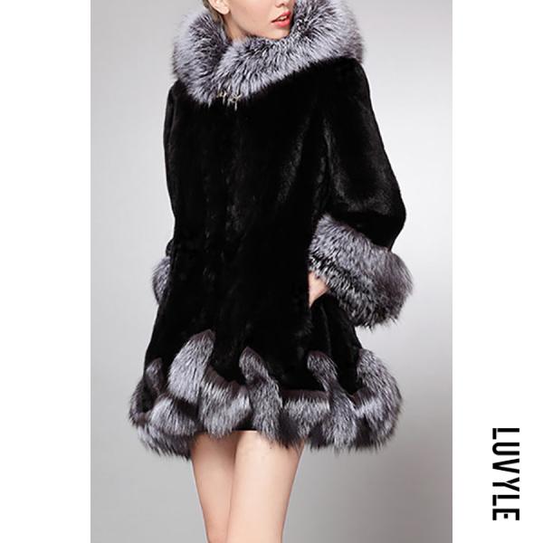 Hooded Imitation Fox Fur Coat - from $69.00