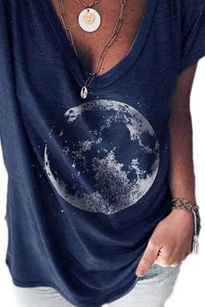 Casual V Neck Moon T-Shirt