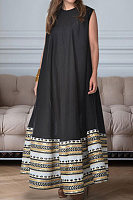 Elegant printed sleeveless dress