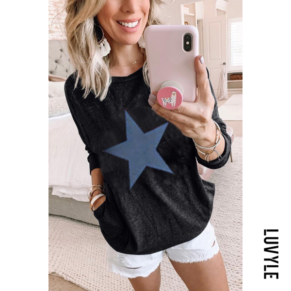 Black Casual Round Neck Multicolor Long Sleeve Star Print T-Shirt Black Casual Round Neck Multicolor Long Sleeve Star Print T-Shirt