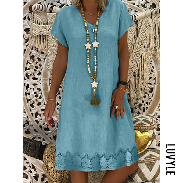 Light Blue V Neck Printed Shift Dress Light Blue V Neck Printed Shift Dress