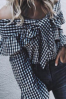 Off Shoulder  Bowknot Flounce  Gingham  Lantern Sleeve Blouses