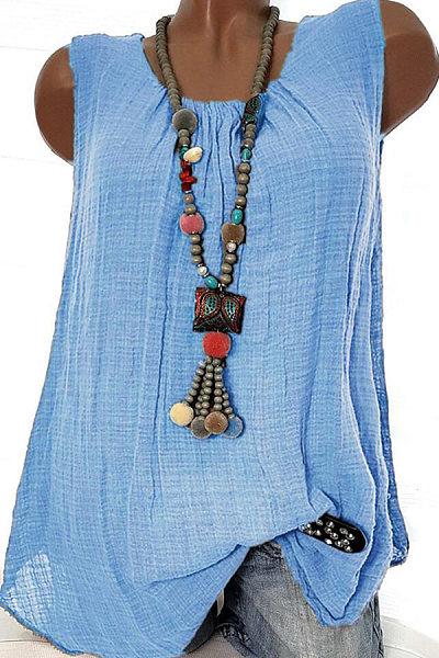 Spring Summer  Cotton  Women  Round Neck  Plain Sleeveless T-Shirts