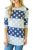 Round Neck  Asymmetric Hem  Color Block Polka Dot T-Shirts