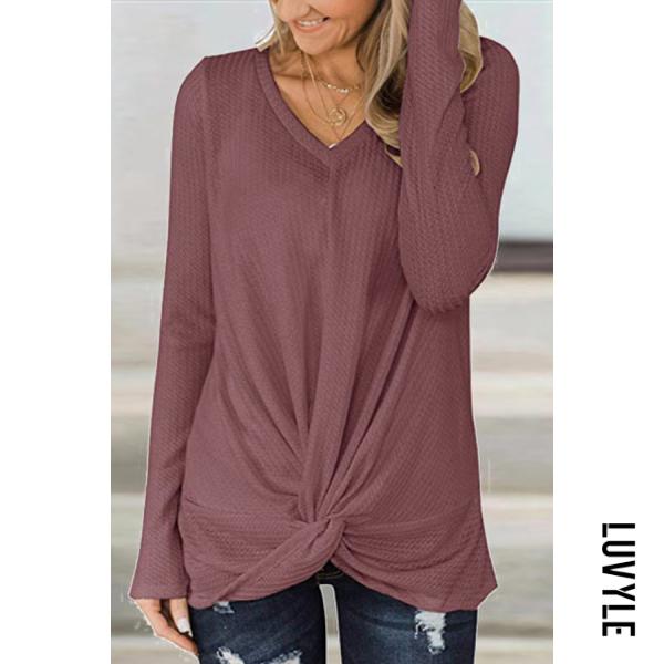V-neck long sleeve solid color T-shirt