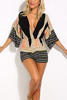Deep V Neck  Backless  Abstract Print  Half Sleeve  Playsuits