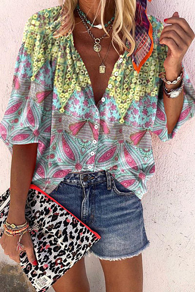 Bohemian V Neck Printed Blouse