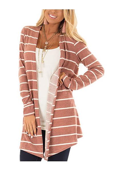 Asymmetric Hem  Contrast Stitching Curved Hem  Stripes Cardigans