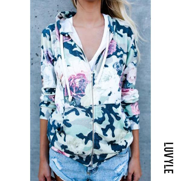 Multi Hooded Zipper Floral Printed Hoodies Multi Hooded Zipper Floral Printed Hoodies