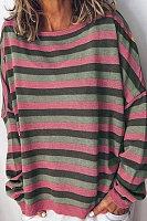 Fashion striped round neck long sleeve loose sweatshirt
