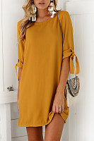 Round Neck  Loose Fitting  Plain  Half Sleeve Casual Dresses