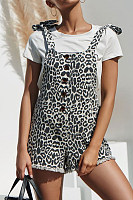Single Breasted  Overall  Leopard Printed  Sleeveless  Playsuits