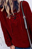 V Neck  Drawstring  Plain Sweaters