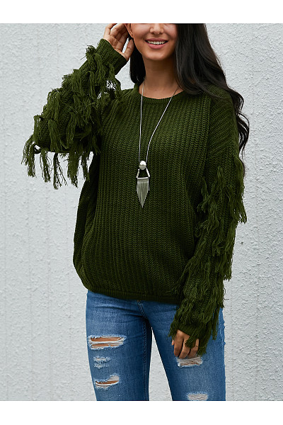 Round Neck  Tassel  Plain Sweaters