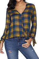 V Neck  Bowknot  Checkered Shirts
