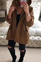 Hooded  Kangaroo Pocket  Plain Outerwear