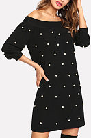 Off Shoulder  Beading  Rib Knit Cuffs  Plain  Long Sleeve Casual Dresses