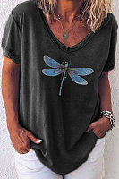 Dragonfly Printed V Neck Loose T-shirt
