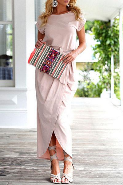 Round Neck  Asymmetric Hem  Belt  Plain Maxi Dresses