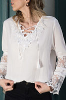 Casual V Neck Lace Bell Sleeve Splicing Chiffon Shirt