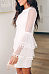 Round Neck  Lace Plain  Bell Sleeve  Long Sleeve Casual Dresses
